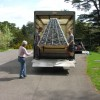 Delivery of Sybil Edwards' pyramid sculpture for the Stroud International Textile Festival